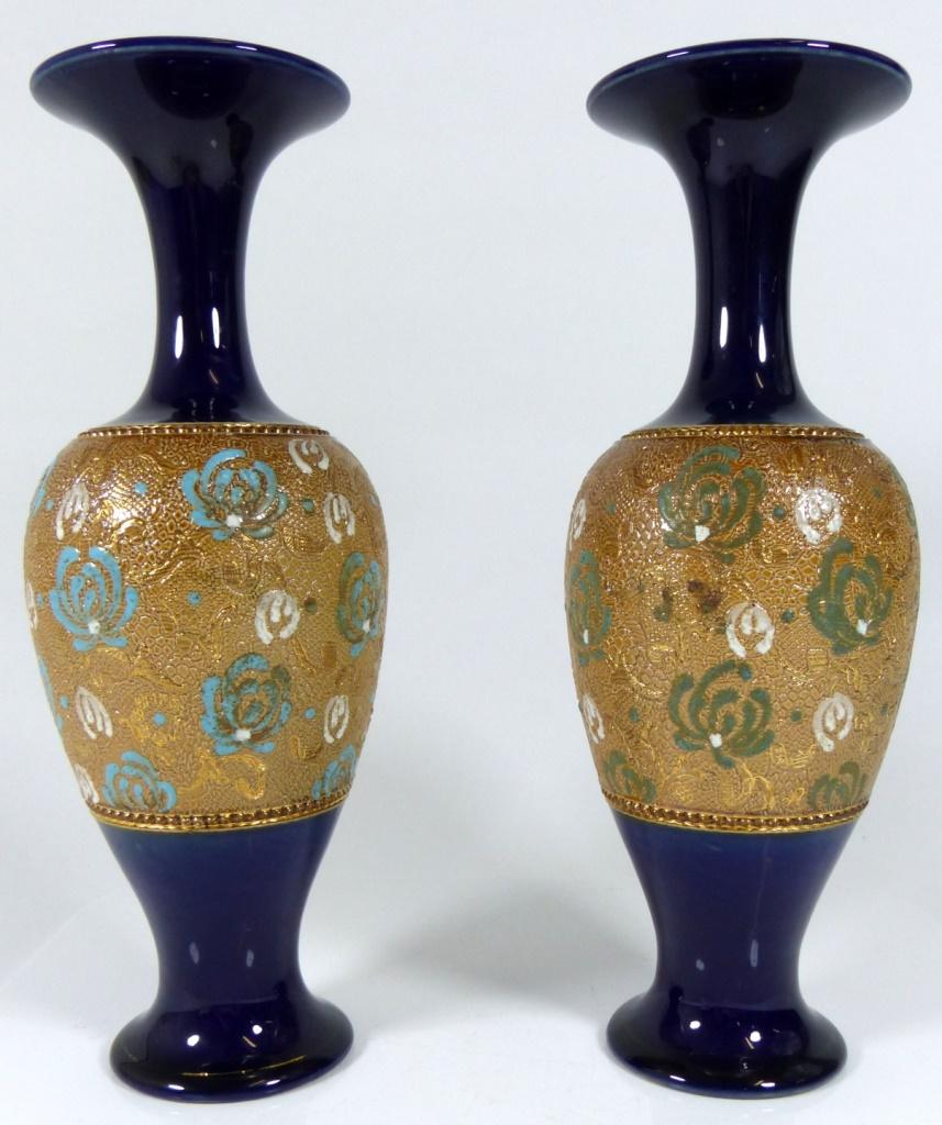 Pr royal doulton cobalt glazed stoneware vases antiquesmodern lot 26 pr royal doulton cobalt glazed stoneware vases reviewsmspy