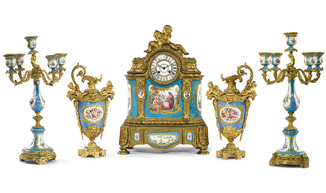 louis xvi style sevres clock garniture set