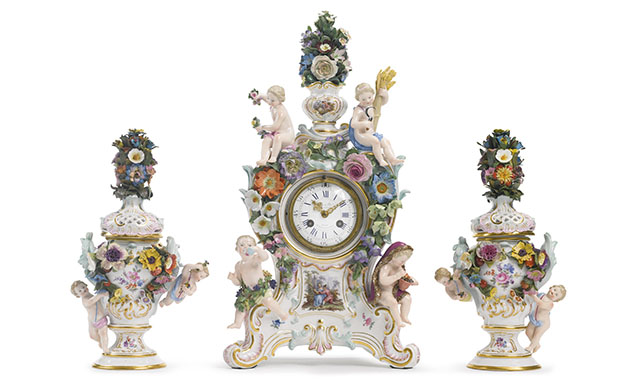 meissen porcelain garniture clock set