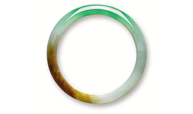 tri color jadeite bangle